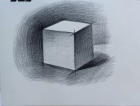 《素描幾何體正方體畫法練習》By 隨緣畫手